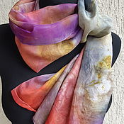 Scarves handmade. Livemaster - original item Scarves: Batik. Natural silk. Falling leaves. Painting. Handmade.
