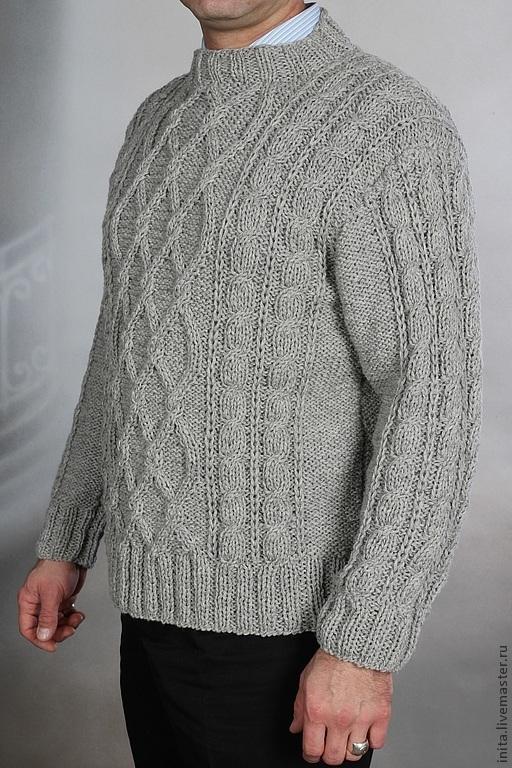 Кофты и свитера ручной работы. Ярмарка Мастеров - ручная работа. Купить Серый свитер мужской XL вязанный, 100% ручная работа. Handmade.