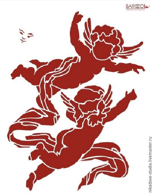 Декупаж и роспись ручной работы. Ярмарка Мастеров - ручная работа. Купить Амурчики (Л-29) - трафарет barocci. Handmade. Белый