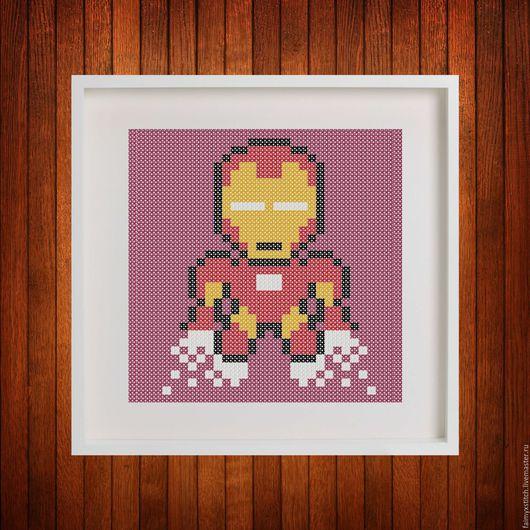 """Вышивка ручной работы. Ярмарка Мастеров - ручная работа. Купить Схема для вышивки крестом """"Железный человек -Ironman"""". Handmade."""