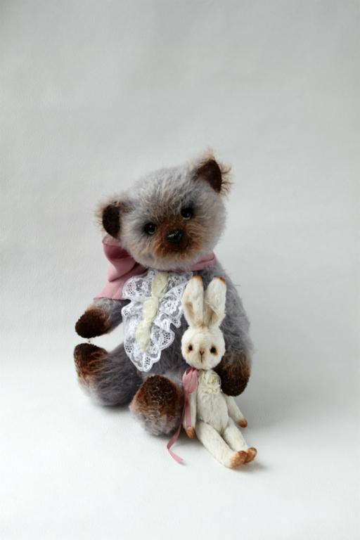 Мишки Тедди ручной работы. Ярмарка Мастеров - ручная работа. Купить Мишка Тедди Саймон с Зайкой. Handmade. Серый