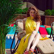 Одежда ручной работы. Ярмарка Мастеров - ручная работа Лимонное платье с перепадом длины. Handmade.