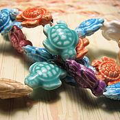 Материалы для творчества handmade. Livemaster - original item Ceramic Turtle Beads 19h15 mm. Handmade.
