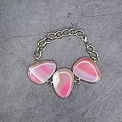 Украшения handmade. Livemaster - original item Natural pink agate bracelet. Handmade.