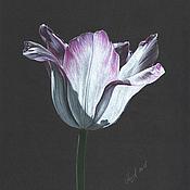 """Картины и панно ручной работы. Ярмарка Мастеров - ручная работа """"Тюльпан на черном"""". Handmade."""