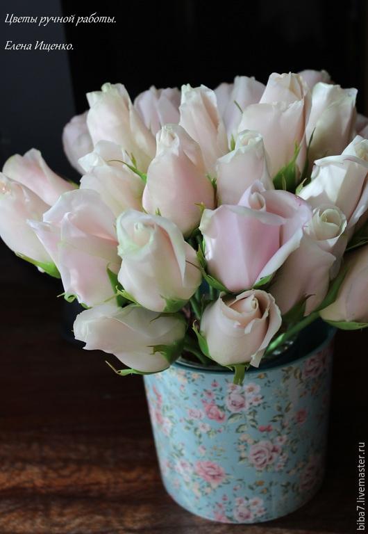 Интерьерные композиции ручной работы. Ярмарка Мастеров - ручная работа. Купить Букет роз Нежность из полимерной глины керамическая флористика. Handmade.