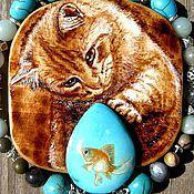 """Украшения ручной работы. Ярмарка Мастеров - ручная работа Кулоны """"Кот и рыбка"""". Handmade."""