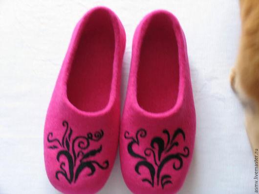 Обувь ручной работы. Ярмарка Мастеров - ручная работа. Купить Тапочки валяные, с рисунком, удивительные растения.. Handmade. Тапочки