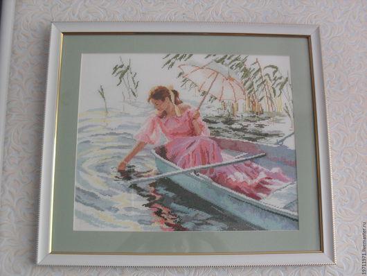 """Люди, ручной работы. Ярмарка Мастеров - ручная работа. Купить """"Девушка с зонтиком"""".. Handmade. Розовый, Вышивка крестом, лодка"""
