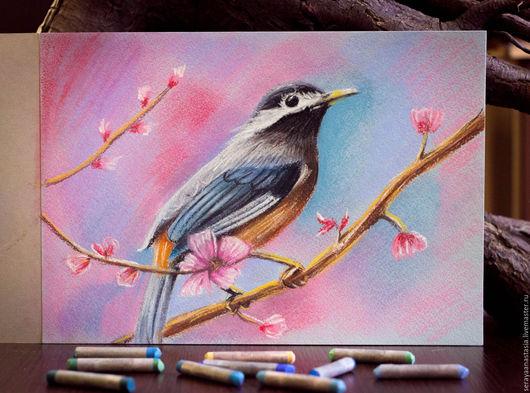 """Животные ручной работы. Ярмарка Мастеров - ручная работа. Купить Картина пастелью """"Весна пришла"""". Handmade. Розовый, птица на ветке"""