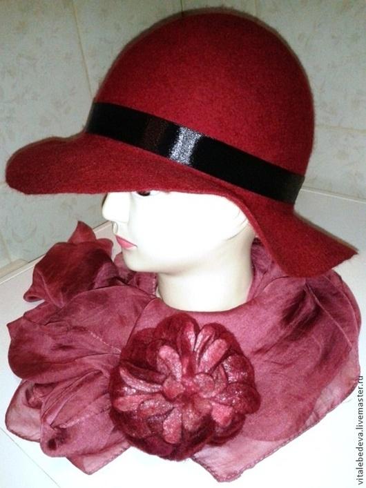 """Шляпы ручной работы. Ярмарка Мастеров - ручная работа. Купить Шляпа """"Бордо"""". Handmade. Бордовый, шарм, натуральные материалы"""