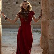 Платья ручной работы. Ярмарка Мастеров - ручная работа Красное Льняное Платье EVA с открытой спиной - 31 расцветка. Handmade.