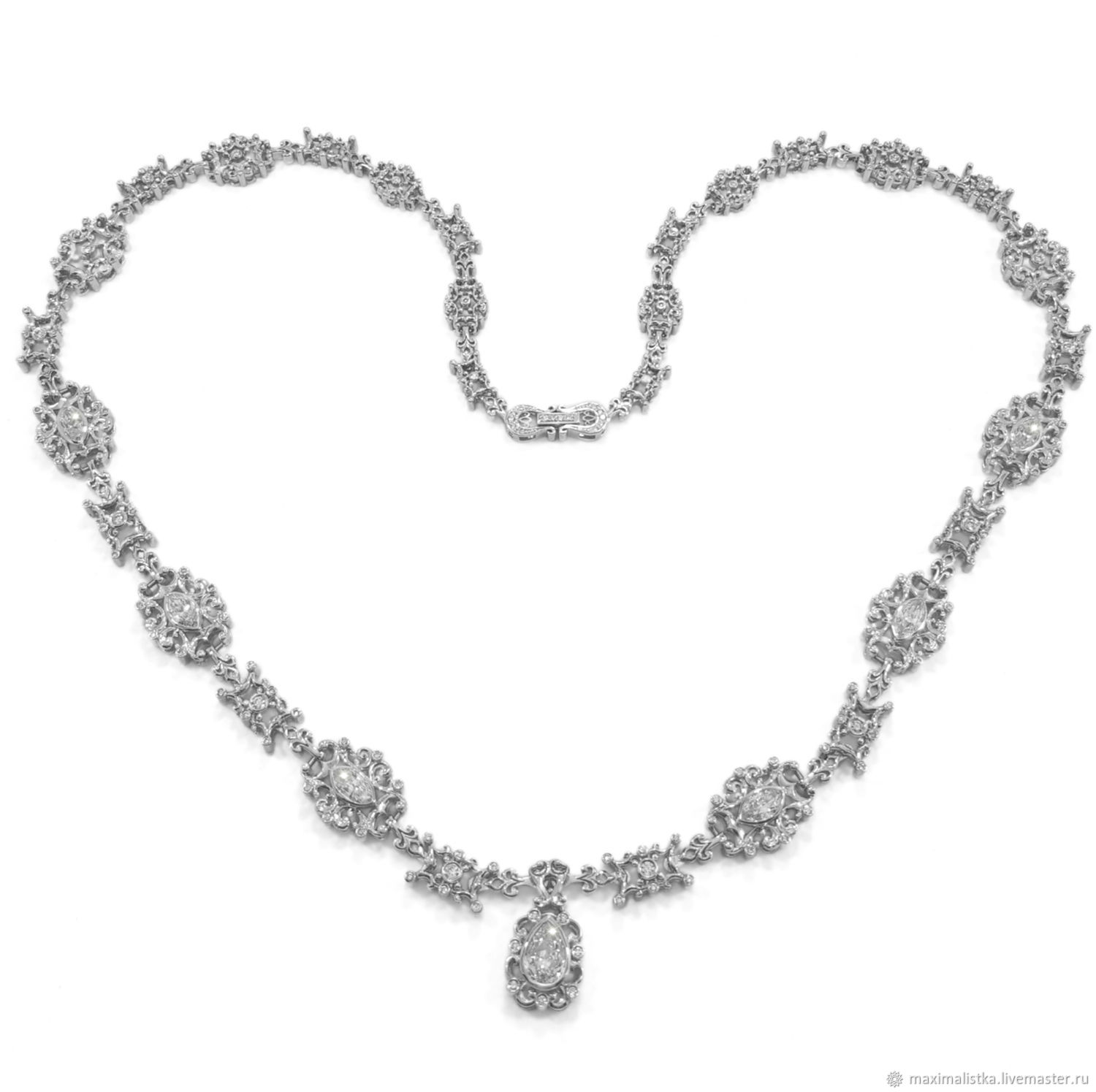 Diamond necklace 'Your Grace,' white gold, Necklace, Moscow,  Фото №1