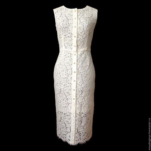 Платья ручной работы. Ярмарка Мастеров - ручная работа. Купить платье из кружевного полотна. Handmade. Белый, однотонный, Платье нарядное