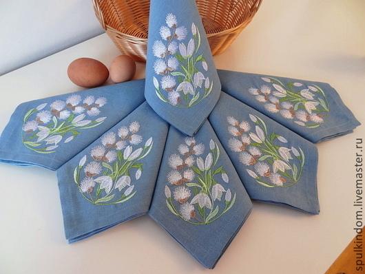 Салфетки с вышивкой `Весна пришла` `Шпулькин дом` мастерская вышивки