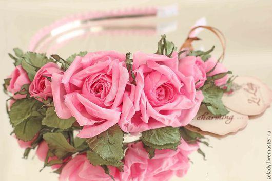 """Цветы ручной работы. Ярмарка Мастеров - ручная работа. Купить Обруч """"Розовый сад"""". Handmade. Цветы из ткани, шелковые цветы"""