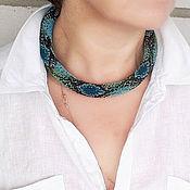 handmade. Livemaster - original item Necklace-harness Emerald blue Python. Handmade.