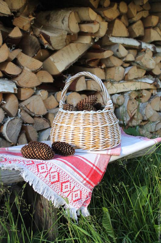 """Корзины, коробы ручной работы. Ярмарка Мастеров - ручная работа. Купить Корзиночка """"Солнечная"""", плетеная корзинка для ягод, грибов, рукоделия. Handmade."""