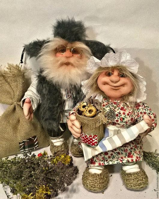 Коллекционные куклы ручной работы. Ярмарка Мастеров - ручная работа. Купить домовой и домовушка. Handmade. Серый, пара, семья, синтепон