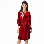 Платья ручной работы. Ярмарка Мастеров - ручная работа Стильное короткое платье-рубашка в бордовом цвете с вышивкой на спине. Handmade.