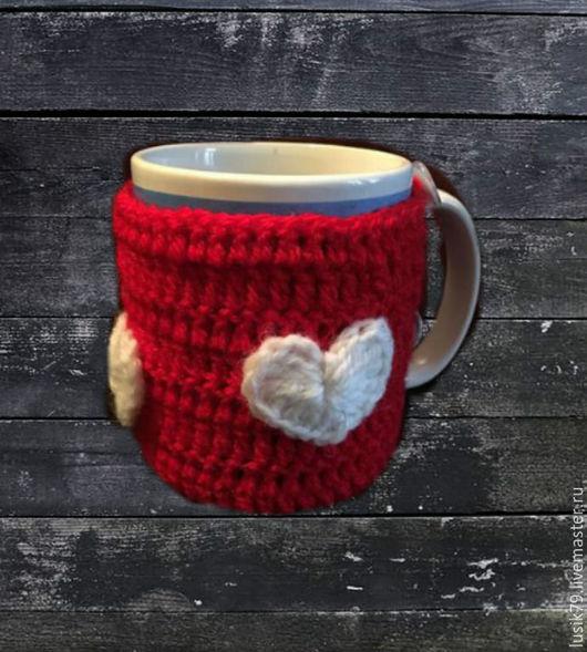 """Кухня ручной работы. Ярмарка Мастеров - ручная работа. Купить Грелка на кружку """"Сердечная"""". Handmade. Красный, сердечко, красная, на заказ"""