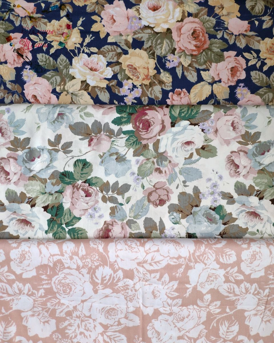 Cotton Chinese satin Moscow cotton fabric Provence flowers 0,5 m, Fabric, Moscow,  Фото №1