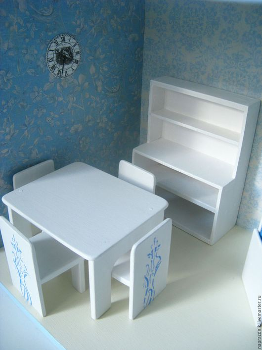 Кукольный дом ручной работы. Ярмарка Мастеров - ручная работа. Купить Кукольная мебель столовая. Handmade. Белый, кукольный стул