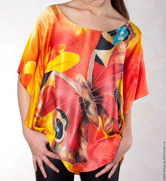 """Блузки ручной работы. Ярмарка Мастеров - ручная работа. Купить Батик блуза """"Летнее настроение"""". Handmade. Ярко-красный, Батик"""