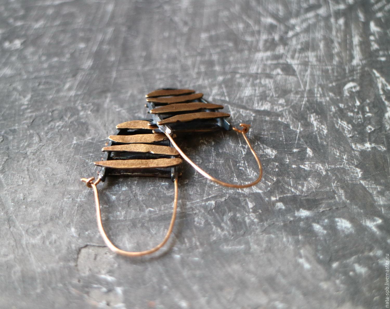 Серьги ручной работы. Ярмарка Мастеров - ручная работа. Купить #898 серьги (латунь, серебро, золото). Handmade. Золотой