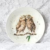 """Тарелки ручной работы. Ярмарка Мастеров - ручная работа Декоративная настенная тарелка """"Совушки"""", декупаж тарелка. Handmade."""