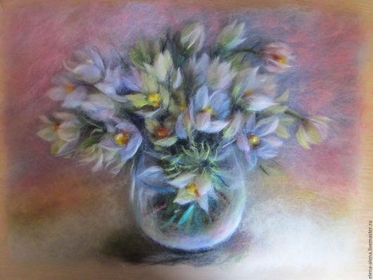 Картины цветов ручной работы. Ярмарка Мастеров - ручная работа. Купить Картина из шерсти Весеннее настроение. Handmade. Бледно-сиреневый