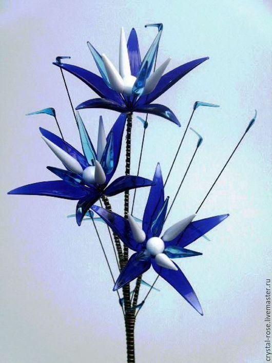 Цветы ручной работы. Ярмарка Мастеров - ручная работа. Купить Цветок из богемского стекла средний. Синий с белым.. Handmade.