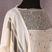 Одежда handmade. Livemaster - original item Blouse tunic women`s summer, boho style, beige. Handmade.