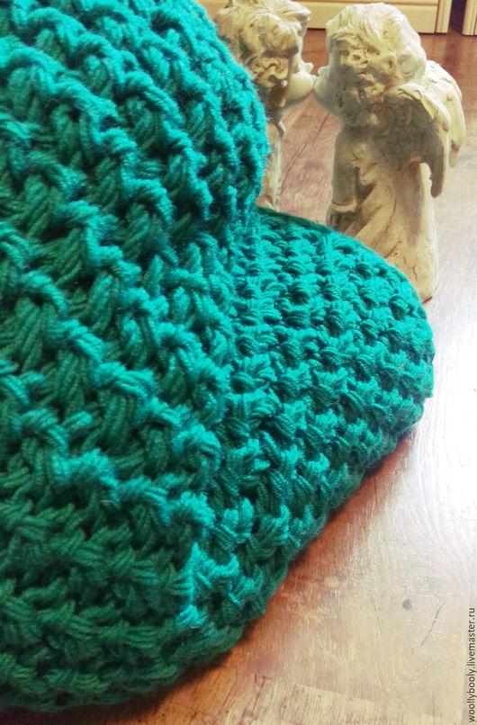 Текстиль, ковры ручной работы. Ярмарка Мастеров - ручная работа. Купить Nelesma, крупновязаный плед. Handmade. Бирюзовый, вязаная наволочка