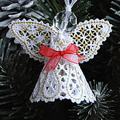 Подарки к праздникам handmade. Livemaster - original item Christmas angel with red bow 3. Handmade.