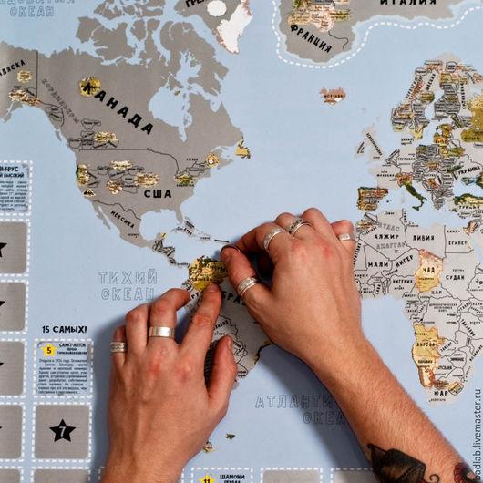 Подарки для мужчин, ручной работы. Ярмарка Мастеров - ручная работа. Купить Карта горнолыжных курортов со скретч слоем SnowMap. Handmade.