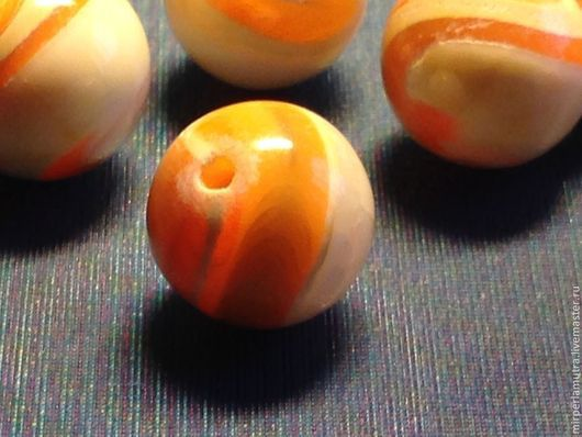 """Для украшений ручной работы. Ярмарка Мастеров - ручная работа. Купить Бусина """"Рыжая"""" 8 и 9 мм, перламутр. Handmade."""