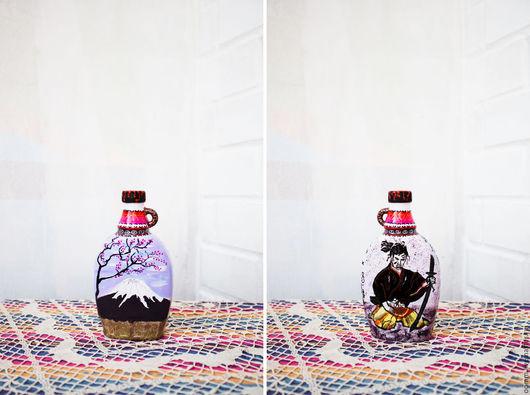 """Статуэтки ручной работы. Ярмарка Мастеров - ручная работа. Купить Декоративная бутылка """"Самурай на привале"""". Handmade. Бутылка, фляжка"""
