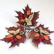 Украшения handmade. Livemaster - original item Leather set: Earrings and ring Autumn.. Handmade.