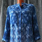 "Одежда ручной работы. Ярмарка Мастеров - ручная работа Блуза  - рубаха синяя ""Сибори""техника японский батик на льне. Handmade."