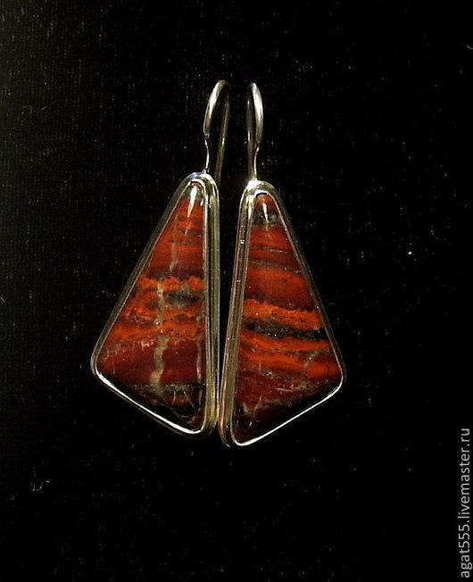 Серьги ручной работы. Ярмарка Мастеров - ручная работа. Купить Серьги с красной яшмой в серебре. Handmade. Разноцветный, яшма красная
