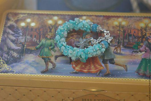 голубой браслет браслет заказ москва украшение на заказ пушистый браслет мода винтаж