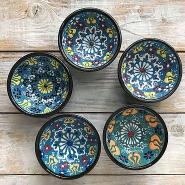 Посуда ручной работы. Ярмарка Мастеров - ручная работа Набор керамических соусниц (5 шт) (голубые). Handmade.
