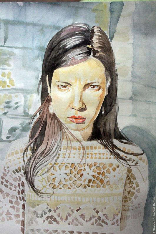 Люди, ручной работы. Ярмарка Мастеров - ручная работа. Купить Портрет акварелью по фотографии. Handmade. Разноцветный, акварель, акварельная бумага
