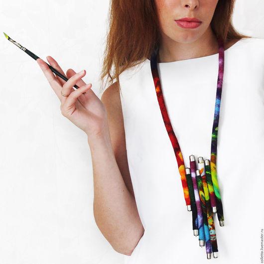 """Колье, бусы ручной работы. Ярмарка Мастеров - ручная работа. Купить Текстильное украшение """"Рио"""". Handmade. Комбинированный, разноцветные бусы"""