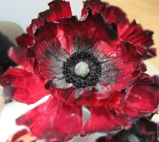 Элементы интерьера ручной работы. Ярмарка Мастеров - ручная работа. Купить большие бумажные цветы. Handmade. Ярко-красный, бумага
