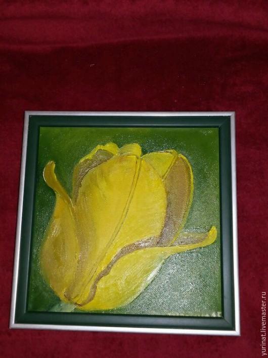 Картины цветов ручной работы. Ярмарка Мастеров - ручная работа. Купить Тюльпан желтый--авторская работа. Handmade. Желтый, цветы