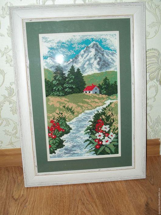 Пейзаж ручной работы. Ярмарка Мастеров - ручная работа. Купить Горный пейзаж. Handmade. Комбинированный, пейзаж, лес, горы, аккуратный