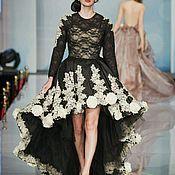 Одежда ручной работы. Ярмарка Мастеров - ручная работа Черное платье с кружевом. Handmade.