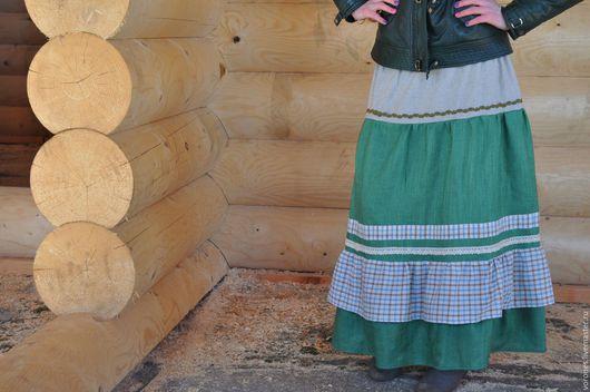 Юбки ручной работы. Ярмарка Мастеров - ручная работа. Купить Длинная юбка в стиле бохо. Handmade. Зеленый, яркая, лён